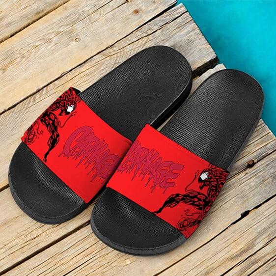 Scary Red Venom Carnage Illustration Dope Slide Sandals