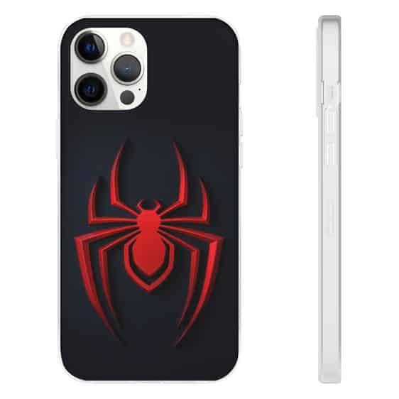Spider-Man Red Spider Logo Black iPhone 12 Fitted Case