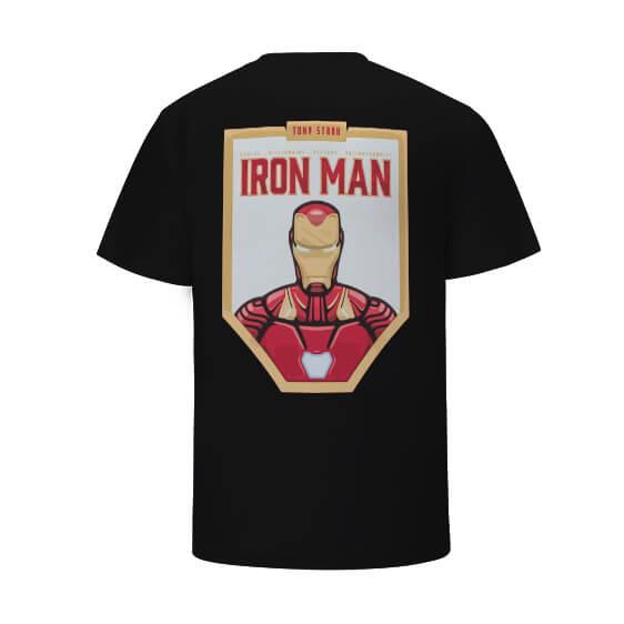 The Invincible Iron Man Tony Stark Awesome Pattern Black T-shirt