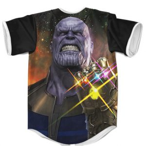The Mad Titan Thanos Wearing Infinity Gauntlet Baseball Shirt