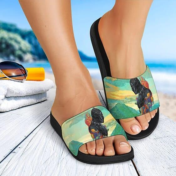 Wakanda Forever Black Panther Painting Art Slide Sandals