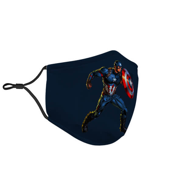 Amazing Captain America Navy Blue Filtered Face Mask