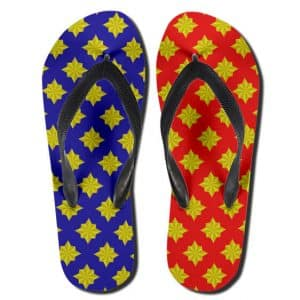 Amazing Captain Marvel Logo Pattern Red Blue Thong Sandals