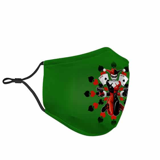 Animated Harley Quinn Jester Jumpsuit Green Face Mask