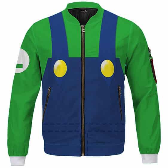 Amazing Nintendo Luigi Costume Cosplay Green Bomber Jacket
