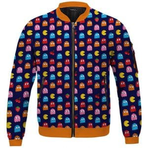Classic Retro Game Pacman & Ghosts Pattern Bomber Jacket