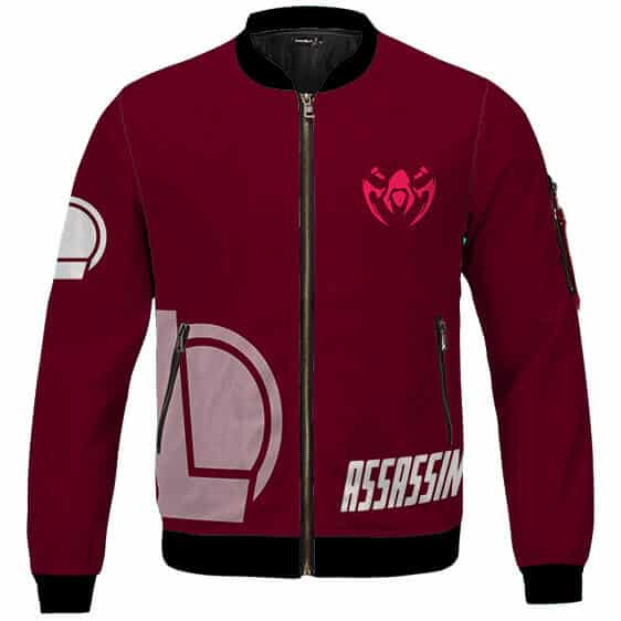 League Of Legends Assassin Role Icon Maroon Bomber Jacket