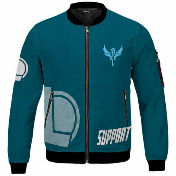 League Of Legends Support Role Icon Teal Blue Bomber Jacket