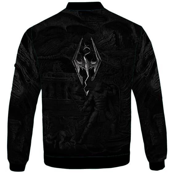 Skyrim Dragonborn Stone Mural Elder Scrolls Logo Bomber Jacket