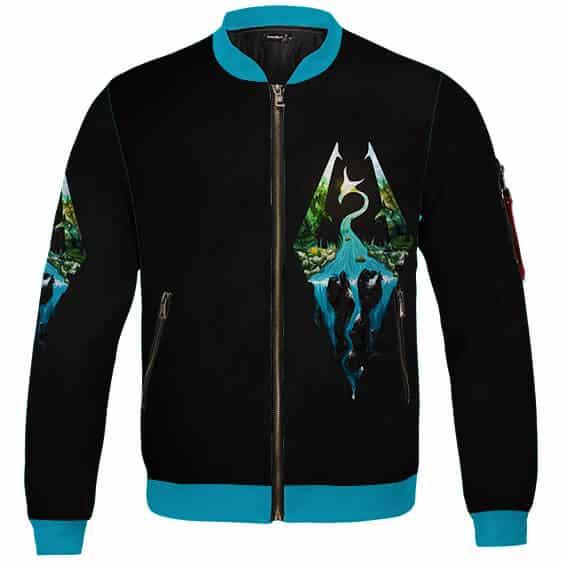 The Elder Scrolls Skyrim Logo Artwork Black Bomber Jacket