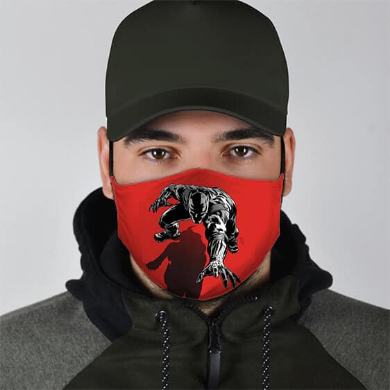 Black Panther Shadow Minimalist Red Cloth Face Mask