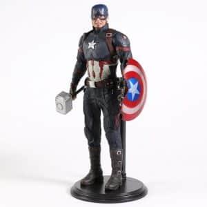 Captain America Holding Thor's Mjolnir Statue Model Toy