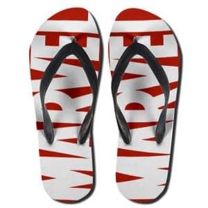 Classic Marvel Comics Red & White Logo Flip Flop Slippers