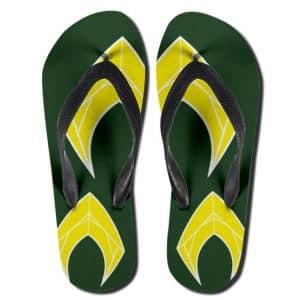 DC Comics Aquaman Logo Stylish Green Flip Flop Sandals