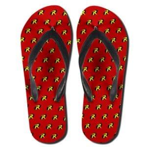 DC Comics Classic Robin Logo Pattern Flip Flop Slippers