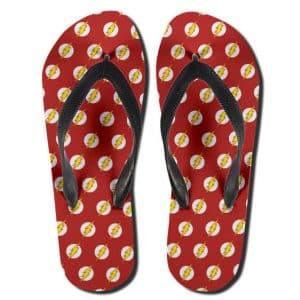 DC Comics Flash Iconic Logo Pattern Red Flip Flop Sandals