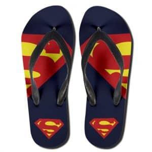 DC Comics Superman Iconic Logo Navy Blue Flip Flop Sandals