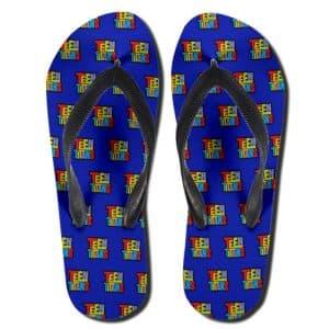 DC Comics Teen Titans Logo Pattern Blue Thong Sandals