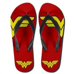 DC Comics Wonder Woman Cartoon Logo Red Gold Flip Flops