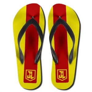 DC Justice League Minimalistic Logo Red Yellow Flip Flops