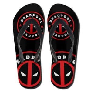 Dope Marvel Deadpool Minimalistic Logo Black Flip Flops
