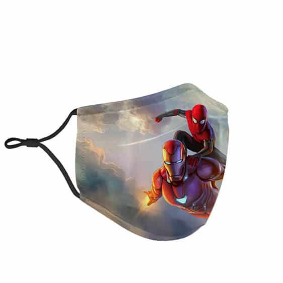 Flying Iron Man with Spider-Man Filtered Face Mask