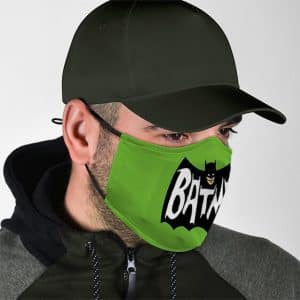 Justice League Batman Simple Bat Logo Green Face Mask