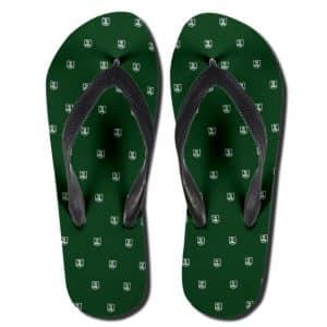 Justice League Minimalist Pattern Art Green Thong Sandals