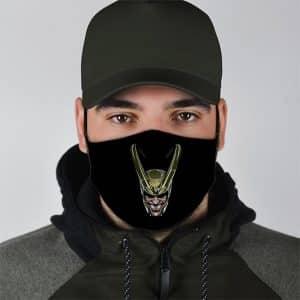 Loki God of Mischief Creepy Grin Black Cloth Face Mask