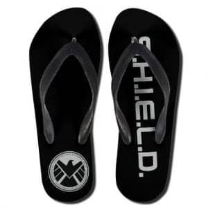 Marvel Agents of S.H.I.E.L.D. Symbol Black Thong Sandals