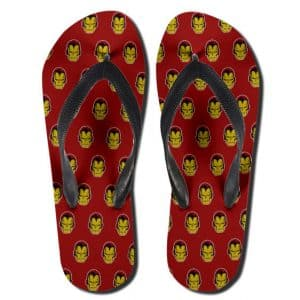 Marvel Comics Classic Iron Man Head Pattern Thong Sandals