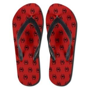 Miles Morales Spiderman Logo Pattern Red Flip Flop Slippers