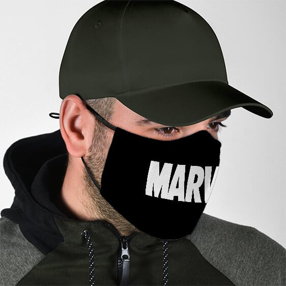 Minimalist Plain White Marvel Logo Filtered Face Mask
