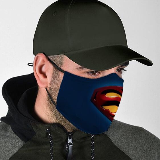 Minimalist Superman Symbol Navy Blue Cloth Face Mask