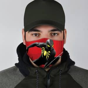 Spider-Man Black Silhouette Art Red Filtered Face Mask