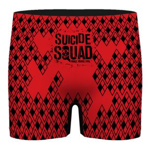 Suicide Squad Harley Quinn Logo Pattern Red Men's Boxers