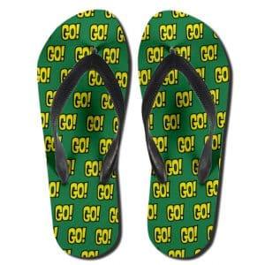 Teen Titans Go! Logo Pattern Art Green Flip Flop Sandals