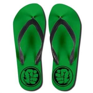 The Incredible Hulk Fist Cartoon Logo Green Flip Flop Sandals