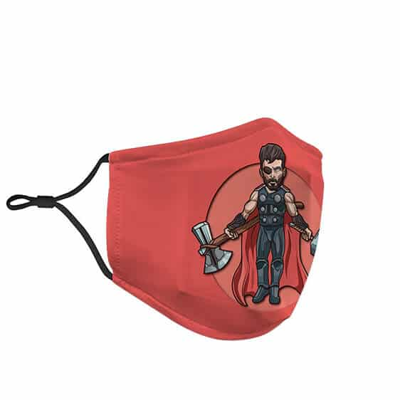 Thor Caricature Holding Mjolnir and Stormbreaker Face Mask