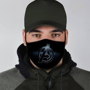 Unique The Avengers Silver Logo Black Cloth Face Mask