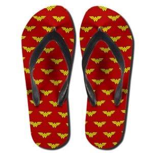 Wonder Woman Diana Prince Logo Pattern Cool Thong Sandals
