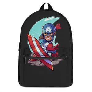 Cartoon Style Captain America Throwing Shield Backpack Bag