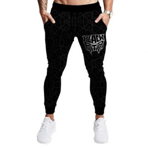 Classic Black Panther Logo and Skin Pattern Jogger Pants