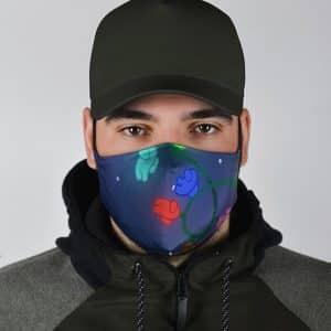 Among Us Crew Christmas Lights Design Adorable Face Mask