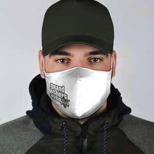Grand Theft Auto V Logo Minimalistic White Cloth Face Mask