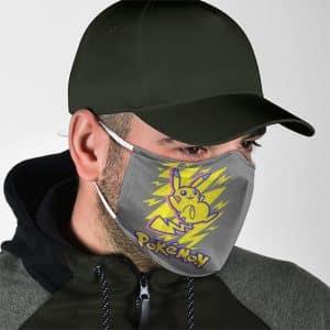 Pokemon Stunning Pikachu Artwork Gray Cloth Face Mask
