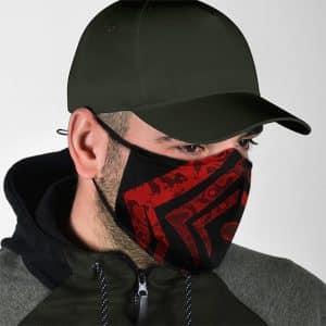 Dope Warframe Red Tribal Logo Design Cloth Face Mask