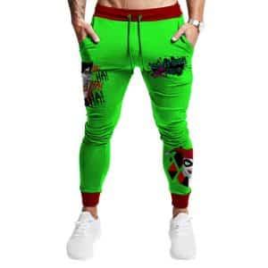 Harley Quinn and Joker Mad Love Neon Green Sweatpants