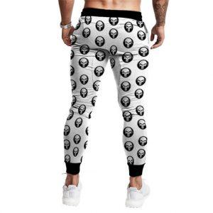 The Punisher Skull Logo Pattern White Marvel Sweatpants