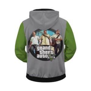 Grand Theft Auto 5 Franklin Michael Trevor Zip Up Hoodie